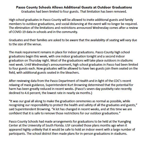 Updated Graduation Guest Information